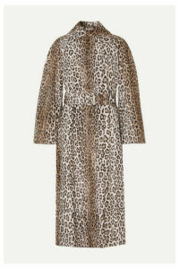 Emilia Wickstead - Jill Belted Leopard-print Cotton-blend Faux Fur Coat - Leopard print