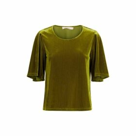 Traffic People Whisper Velvet Top In Green