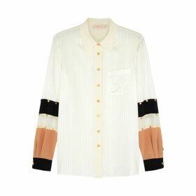 Tory Burch Ivory Panelled Stretch-silk Blouse