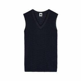 M Missoni Dark Blue Textured-knit Wool-blend Top
