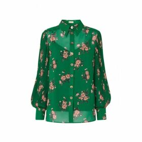 Kitri Sonya Green Floral Print Blouse