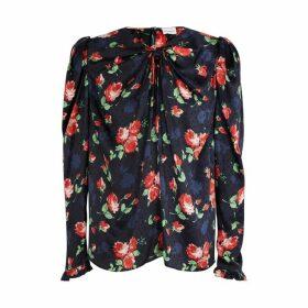 Magda Butrym Carserta Navy Floral-print Silk Blouse