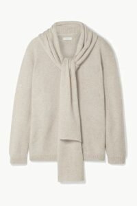 Deveaux - Draped Mélange Cashmere Sweater - Cream