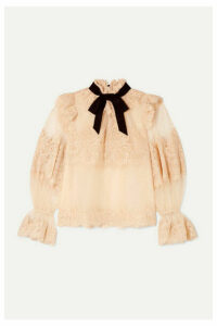 Zimmermann - Espionage Corded Lace And Point D'esprit Tulle Blouse - Blush