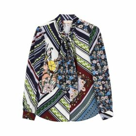 Tory Burch The Bow Printed Silk Blouse