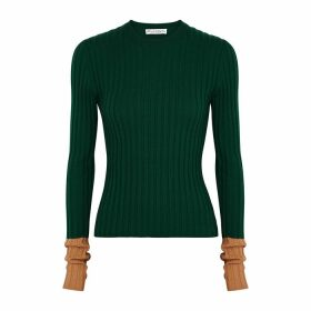 JW Anderson Green Ribbed Wool Top