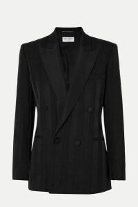 SAINT LAURENT - Double-breasted Grosgrain-trimmed Wool Blazer - Black