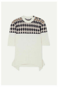 Chloé - Button-embellished Argyle Merino Wool-blend Sweater - White