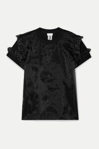 Noir Kei Ninomiya - Ruffled Cotton-jersey And Organza T-shirt - Black