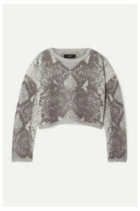 AMIRI - Cropped Intarsia Wool And Cashmere-blend Sweater - Gray