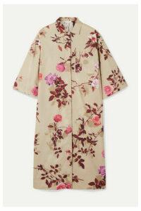 Dries Van Noten - Dorali Floral-print Cotton-poplin Shirt Dress - Beige