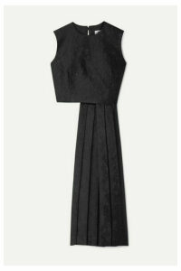 Noir Kei Ninomiya - Asymmetric Pleated Floral-jacquard Top - Black