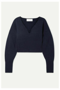 Esteban Cortázar - Cropped Stretch-wool And Cashmere-blend Sweater - Navy