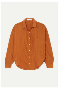 TRE by Natalie Ratabesi - The Iris Striped Wool, Cotton And Silk-blend Voile Shirt - Orange