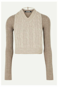 Jacquemus - Layered Cable-knit Two-tone Merino Wool Sweater - Gray