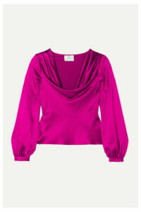 Rebecca de Ravenel - Draped Textured-silk Blouse - Magenta