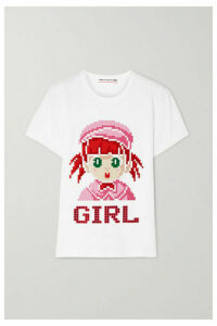Comme des Garçons GIRL - Crystal-embellished Printed Cotton-jersey T-shirt - White
