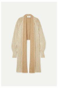 Chloé - Asymmetric Two-tone Wool-blend Cardigan - Beige