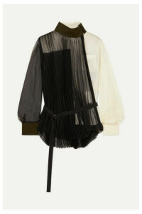 Sacai - Wool-trimmed Paneled Pleated Chiffon And Crepe Shirt - Black
