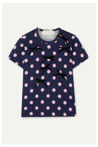 Comme des Garçons GIRL - Bow-embellished Polka-dot Cotton-jersey T-shirt - Navy