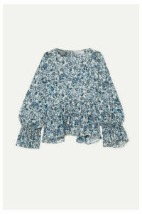 APIECE APART - Midnight Ruffled Floral-print Cotton-gauze Blouse - Navy