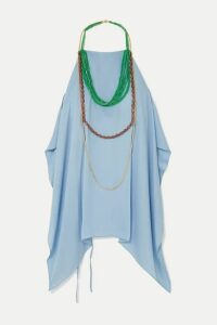Jacquemus - Haut Bijoux Backless Draped Embellished Crepe Halterneck Top - Sky blue