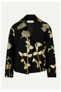 Dries Van Noten - Vaudi Cropped Metallic Floral-jacquard Jacket - Black