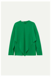 Stella McCartney - Asymmetric Silk Crepe De Chine Blouse - Green