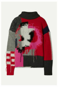 McQ Alexander McQueen - Monster Patchwork Intarsia Wool-blend Turtleneck Sweater - Gray