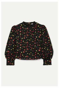 RIXO - Lexi Pintucked Floral-print Cotton-voile Blouse - Black