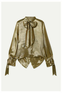 Roland Mouret - Royce Pussy-bow Cutout Metallic Silk-blend Blouse - Gold