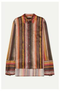 BITE Studios - Striped Organic Silk Shirt - Brown