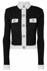 Balmain - Button-embellished Two-tone Ribbed-knit Cardigan - Black