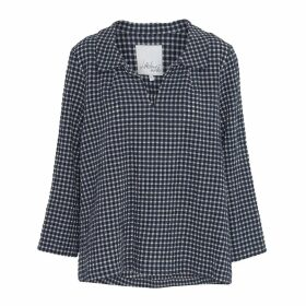 McVERDI - Checkered Smock Blouse With Collar