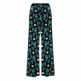 PHOEBE GRACE - Peggy Wide Leg Palazzo Trouser in Black Cactus Print
