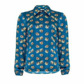 PHOEBE GRACE - Nancy Long Sleeve Shirt in Blue Poppy Print