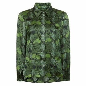 PHOEBE GRACE - Nancy Long Sleeve Shirt in Green Leaf Print