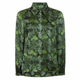 PHOEBE GRACE - Nancy Long Sleeve Shirt in Green Leaf Print