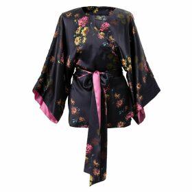 Castlebird Rose - Silk Kimono Top Deep Purple