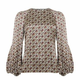 PHOEBE GRACE - Georgie Balloon Sleeve Top in Basket Weave Print