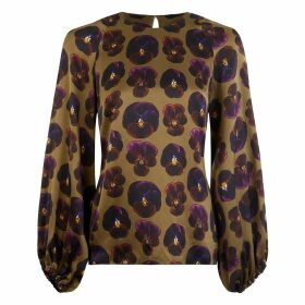 PHOEBE GRACE - Georgie Balloon Sleeve Top in Giant Pansy Print