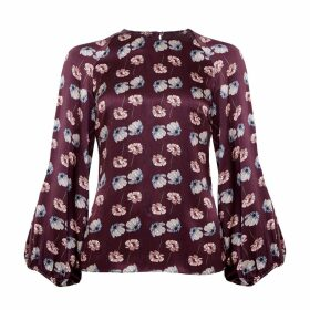 PHOEBE GRACE - Georgie Balloon Sleeve Top in Burgundy Poppy Print