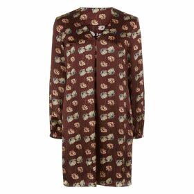 PHOEBE GRACE - Emily Long Sleeved Shift Dress in Burgundy Poppy Print