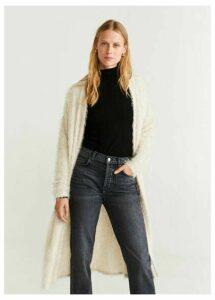 Frayed long cardigan