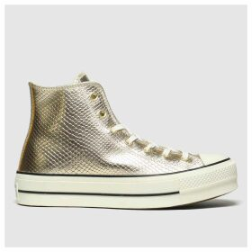 Converse Gold Metallic Snake Lift Hi Trainers