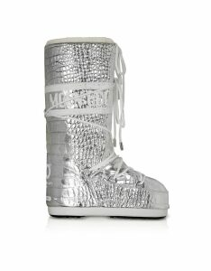 Moon Boot Designer Shoes, Classic 50 Silver Crocodile Boots