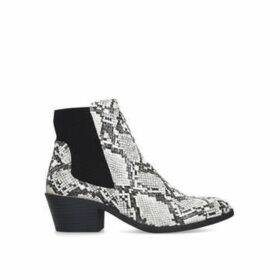 Miss KG Hally - Snake Print Cuban Heel Ankle Boots