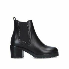 Carvela Thrill - Black Studded Block Heel Chunky Ankle Boots