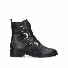 Carvela Scant - Black Snake Print Biker Boots