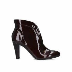 Carvela Comfort Rida - Wine Patent Mid Heel Ankle Boots